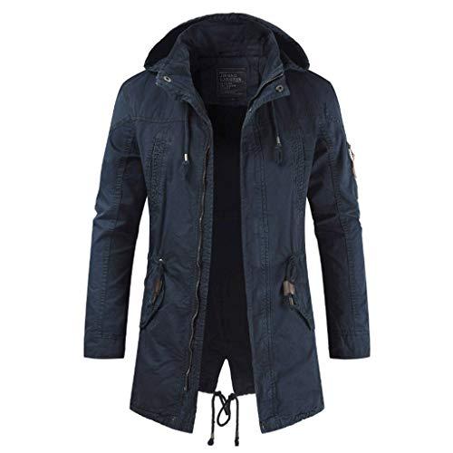 LUCAMORE Men Autumn Winter Military Hooded Zipped Solid Windbreaker Coat Outerwear Plus Size Dark Gray ()