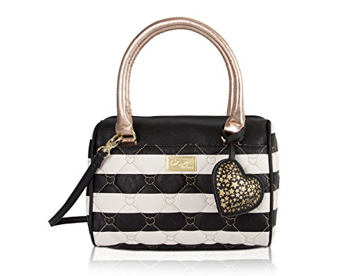 Luv Betsey Johnson Harlet Heart Medium Crossbody Satchel Bag - Stripe (Betsey Stripe Johnson)