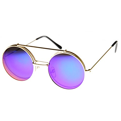zeroUV - Limited Edition Mirror Flip-Up Lens Round Circle Django Sunglasses (Gold - Best Sunglasses Up Flip