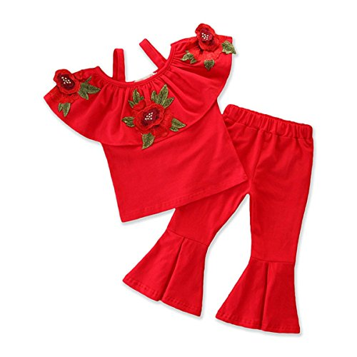 Baby Kids Girl Off-Shoulder T-Shirt Top + Long Flare Pants Ruffled Short-Sleeve Outfit Clothes Set (Red+Floral, 5-6Y) ()