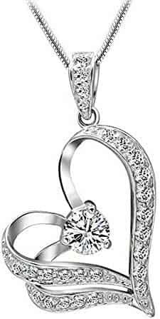 7192dc4a7 925 Sterling Silver 0.75 Ct Round Cut Simulated Diamond Heart Pendant With  18