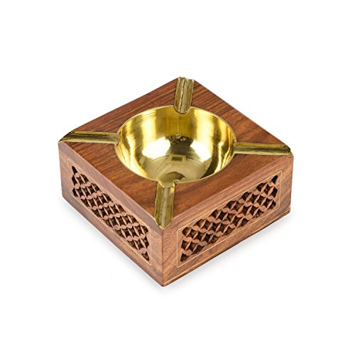 - Whopperonline Wooden Ashtray Jali Design with Golden Color Bowl, Indian Handmade Beautiful Designer Square Shaped Cigar Holder, Easter Day/Mother Day/Good Friday Gift