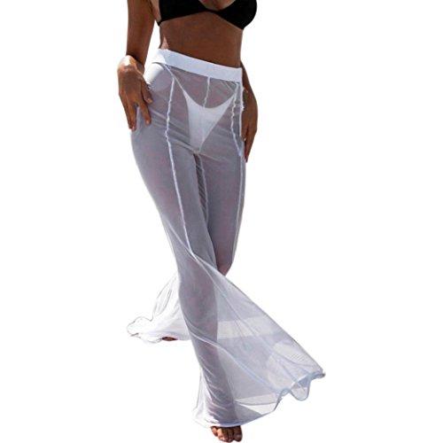 JESFFER Womens Swimwear Transparent Long Pant Trousers Beach Mesh Sheer Bikini Cover Up White
