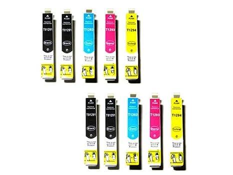 10 Epson kompatible Druckerpatronen T1291 - T1294 für Stylus Office BX 305 F / 320 FW / 525 WD / 625 FWD und Stylus SX 420 W