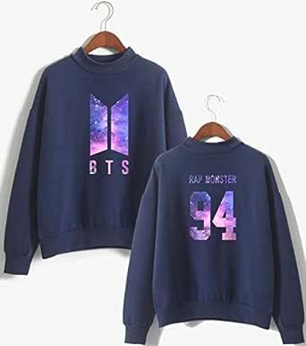 BTS Kpop Sweater Pullover Hoodie Sweatshirts Casual sky purple Printed Hooded