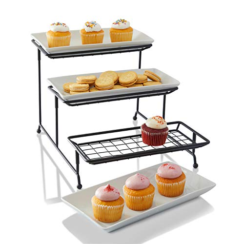 [NEW & IMPROVED] 3 Tier Serving Platters with Mesh Swivel Thicker Tiered Wire Stand - Three White Porcelain Food Display (Rectangular Buffet Stand)