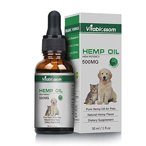 - Vitablossom Hemp Oil for Dogs,Organic Hemp Oil for Pets, Hemp Oil for Pats ,Great for Pain Relief | Anxiety |Calming |Pet Recovery| Supplement for Joint & Hips| Pain | Treats Skin | Sleep (500MG)