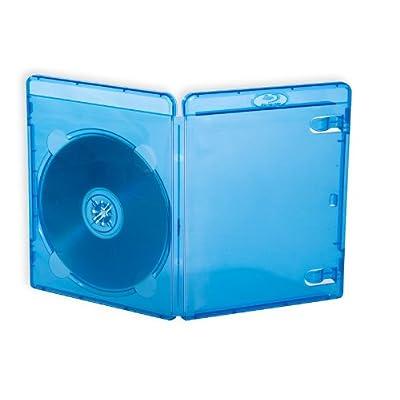 10Fundas BD-R Azul Ray 14mm con bolsillo transparente para carátula