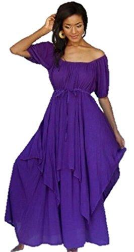 Plus Size Peasant Dresses (Lotustraders Peasant Dress Lagenlook Maxi Misses Plus Purple 5X U257)