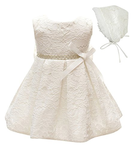 Greatop Baby Girls Dress Christening Baptism Party Formal Dress (White, 3M/0-6Month)