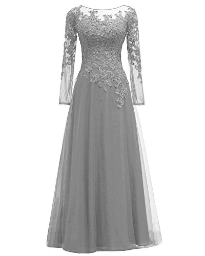 Pretygirl Women's Appliques Tulle Mother Of The Bride Dress Long Sleeves Evening Formal Gown (US 6, Silver Grey)