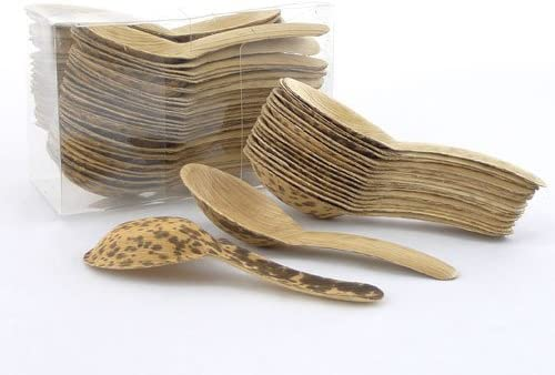 """BambooMN 5.1"""" Premium Bamboo Leaf Chinese Soup Spoons, All Natural Disposable Compostable for Catering and Home Use, 300 Pieces"""