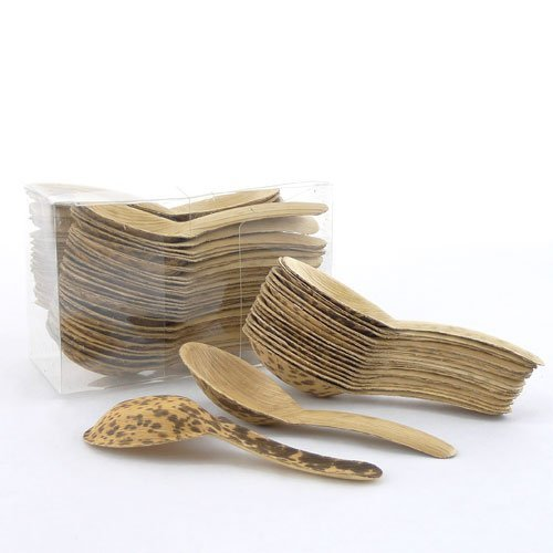 BambooMN Brand - Thermopressed Bamboo Leaf Chinese Soup Spoons - 5.1'' - 1,000 Pieces by BambooMN