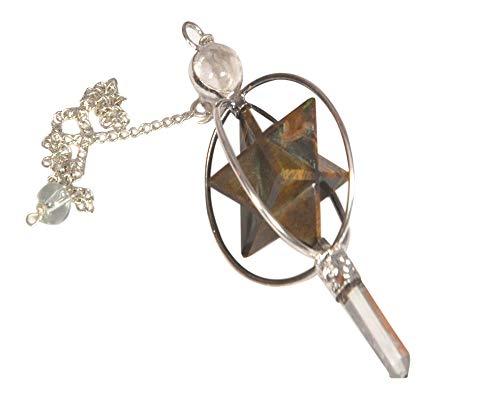 - WholesaleGemShop Tiger Eye Spinning Merkaba Pendulum Dowsing Healing Chakra Balancing Reiki AAA +