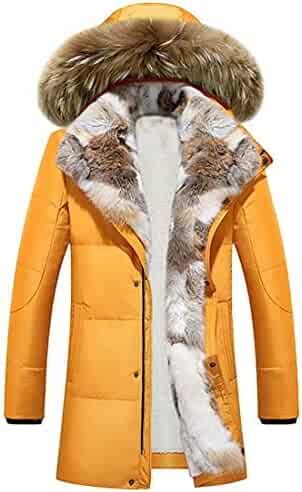 fe9a80e88246 TO-Alanj Down Alternative Jacket, Men Winter Quilted Fur Hooded Long Anorak  Parka Padded