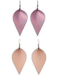 Lightweight Women Real Jewelry Leather Leaf Teardrop Earrings Dangle Drop Earring No Faux