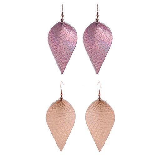 Casual Purple Earrings (Rose Gold Joanne Gaines Lightweight Leather Leaf Teardrop Earrings Dangle Drop Pink Women Summer Holiday Earrings Casual Party Earrings)