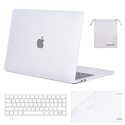 MOSISO MacBook Pro 15 Case 2018 2017 2016 Release A1990/A1707 Touch Bar Models, Plastic Hard Shell & Keyboard Cover & Screen Protector & Storage Bag Compatible Newest Mac Pro 15 Inch, Frost