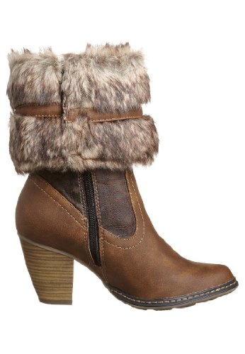 TAMARIS WOMENS ANKLE BOOT VINTAGE PU LEATHER UPPER IMITATION FUR COLLAR TRIM - MID BROWN 25410-29 pU9Tify