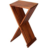 Bare Decor Taj Folding Plantstand Pedestal Table in Solid Teak Wood, 28 High