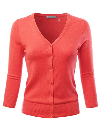 EIMIN Women's 3/4 Sleeve V-Neck Button Down Stretch Knit Cardigan Sweater PEACHNECTOR 3XL
