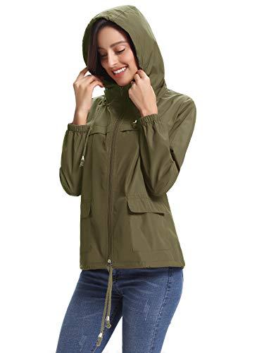 Abollria Militare Con Giacca Per Cappuccio Verde Lampo Giacche Impermeabili Vento Portatile Sacchetto Tasche Antipioggia Casual A Cappotto Chiusura ha Ragazza Comode Donna E rHEfrnAwxq