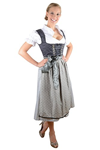 Bavarian Women's Midi Dirndl dress 3-pieces with apron and blouse black creme size 36 (US4-6)