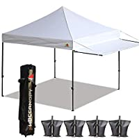 ABCCANOPY 10x10 Tent Pop-up Canopy Tent Instant Canopies Commercial Outdoor Canopy with Awning & Wheeled Carry Bag Bonus 4X Weight Bag, (White)