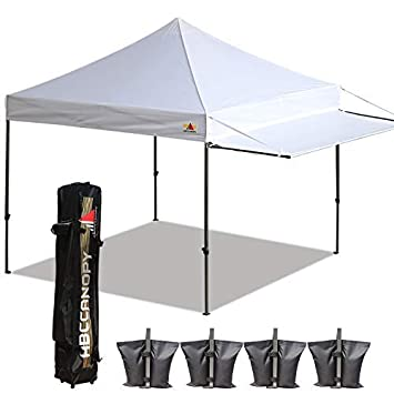 ABCCANOPY 10×10 Tent Pop-up Canopy Tent Instant Canopies Commercial Outdoor Canopy with Awning Wheeled Carry Bag Bonus 4X Weight Bag, White-1905