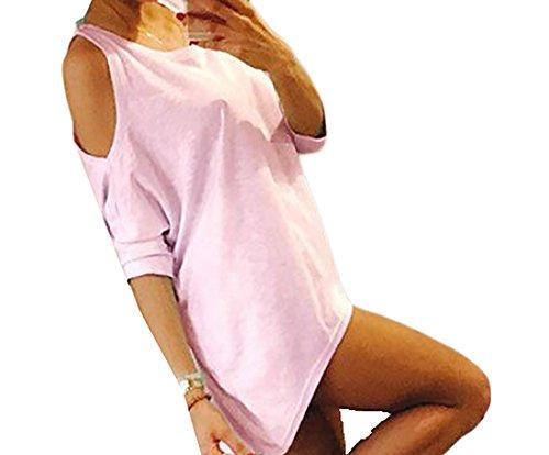 S Multicolor Rosa donne Spalla Manica Off T Vestito Coolred shirt Oversize Solido Corta xfaT7Fwqw