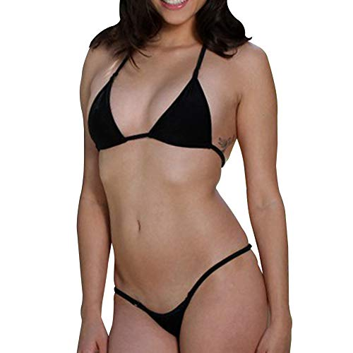 SHERRYLO Mini Micro Bikini Tri Top Thong Bottom Women Bathing Suits Beach Swimwear ()