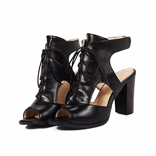 Zapatos de tallas grandes Tacones sandalias Bangyu boca tamaño zapatos black