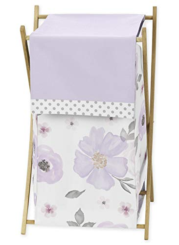 Sweet Jojo Designs Lavender Purple, Pink, Grey and White Baby Kid Clothes Laundry Hamper for Watercolor Floral Collection – Rose Flower