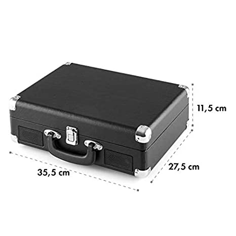 auna Peggy Sue Black Edition - Tocadiscos, Reproduce 3 tamaños de Vinilo, Altavoces Integrados, Equipo estéreo LPs, Puerto USB, Digitalizador MP3, ...