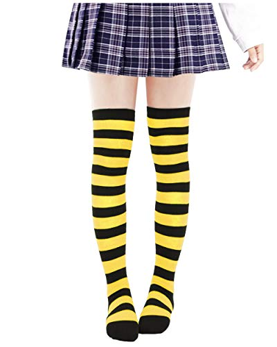 Anime Multicolor Preppy Over Knee Mizore Shimakaze Stripe Stockings (Yellow + Black)]()