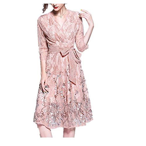Isbxn Vestido Ajustado de Encaje Bordado en V con Cuello en V para Mujer (Color : Pink, Size : S) Pink