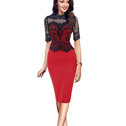Pencil Red Ladies Bobbycool Lace Dress K00019 Sexy Collar Dress Skirt 6wqS01Bq