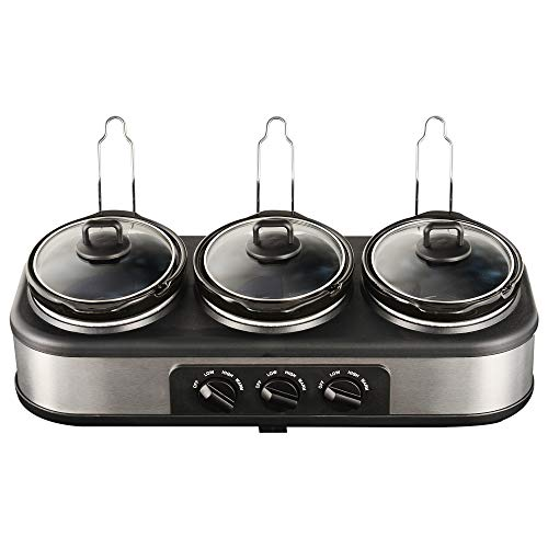 Sunvivi Triple Slow Cooker Buffet Server, 31.5 QT Slow Cookers Buffet Server with Non-Skid Feet, 3 Pots Food Warmer Adjustable Temp Lid Rests Stainless Steel for Parties Holidays Families