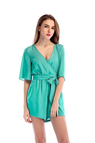 Jumpsuit L Fashion Green Mousseline Dames De Pyjamas Jupe Casual Soie xBqBUg