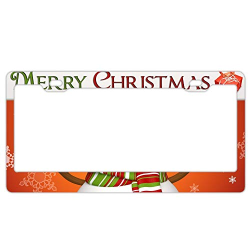 KSLIDS Personalized License Plate Frame Snowman Holding The Board License Plates Cover
