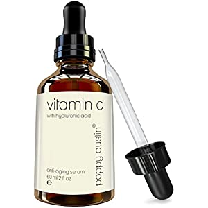 Vitamin C Serum for Face by Poppy Austin - DOUBLE SIZED 60ml - Best Natural, Organic & Triple Purified Vit C Serum - with Hyaluronic Acid Serum, Vitamin E & Jojoba Oil