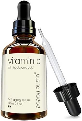 Best Vitamin C Serum for Face by Poppy Austin - DOUBLE SIZED 2 OZ Bottle - Finest Triple Purified All-Natural Formula - Infused with Pure Vegan Hyaluronic Acid & Organic Jojoba Oil - 6 Months Supply