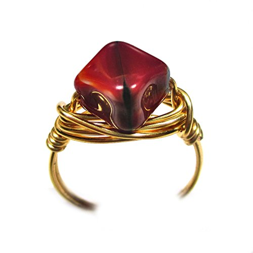 Fluted Puff (Pomegranate Puff Diamond CZ Art Glass Artisan Gold Tone Wire Wrap Ring All Sizes)