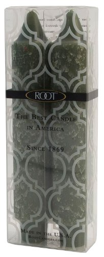 Root Candles Boutique Unscented 7-Inch Timberline Collenette Dinner Candles, Dark Olive Green, Box of 2