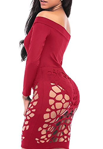 Chic Hollow Out Red Mini Sexy Bodycon Women Solid Dress Clubwear Coolred XqYpEE