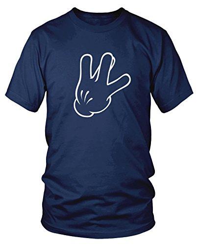 Amdesco Men's Cartoon Glove Hand West Side Sign T-Shirt, Navy Blue Large]()