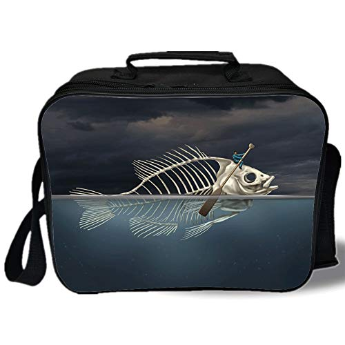 (Surrealistic 3D Print Insulated Lunch Bag,Man with Fish Skeleton in the Sea Kayaking Lifestyle Climate Illustration,for Work/School/Picnic,Blue Grey Cream)