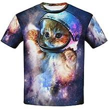 Rock Funny Cartoon Galaxy Space Cat Printed Crew Neck Short Sleeve Unisex Kids Tshirt Tops Novelty Graphic Children Teen Boys Girls Clothing