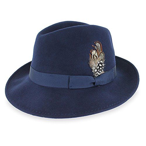 Belfry Bogart 100% Wool Men's Dress Fedora in 5 Colors (Large, Navy)