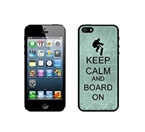 Keep Calm And Board On - Teal Floral - Protective Designer BLACK Case - Fits Apple iPhone 5 / 5S
